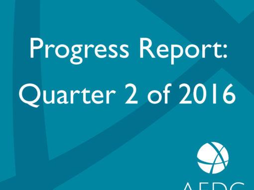 AEDC Progress Report: 2016 Q2